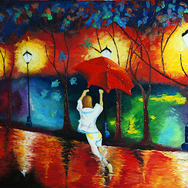 Flying Umbrella by Yash Mishra - Painting All Painting
