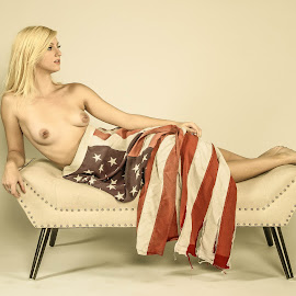 American Nude by Matthew Chambers - Digital Art People ( austin, studio, model, nude, america, austin texas, american flag, texas, retro, pin up, photography, americana, sexy, american, dark, stars and bars, topless, vintage, boudoir, stars and stripes, homage, matthew chambers photography, photo, controversial, blonde, pierced, pierced nipples )
