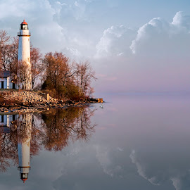 Early Spring Lighthouse by Pat Eisenberger - Landscapes Waterscapes ( michigan, reflection, port hope, lighthouse, seascape, sunrise, spring, pointe aux barques )