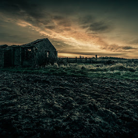 The Hut by Peter Rollings - Landscapes Prairies, Meadows & Fields ( colour, lincolnshire, fence, sky, grass, ruin, frost, derelict, sunrise, rural, decay )