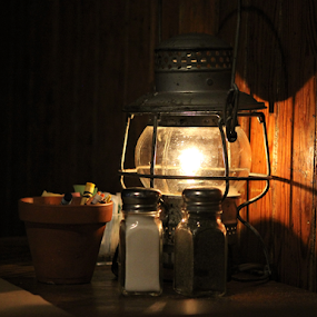 Railroad Pub by Leah Zisserson - Artistic Objects Still Life ( salt and pepper, light, restaurant, train station, lamp, pub,  )