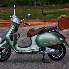 A Classic Vespa by Liam Douglas - Transportation Motorcycles ( italian, vespa, green, 2-wheels, brown, transportation, leather, black, scooter )