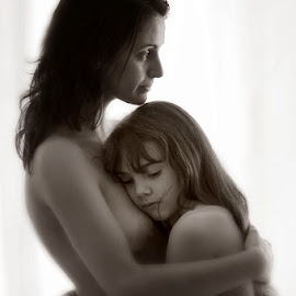 by Ian Cartwright - People Maternity ( pubescent, single, nude, hug, bathtime, daughter, protect, cuddle, skin, close, bond, love, girl, woman, happy, family, intimate, pensive, bath, feminine, bare, hair, parenting, dry, nurture, parent, fun, puberty, loving, soft, breast, mother, female, comfort, naked, thoughtful )