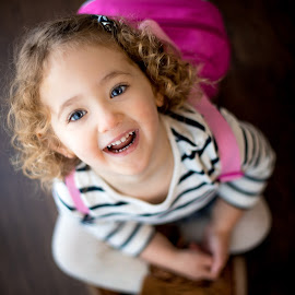 by Mike DeMicco - Babies & Children Child Portraits ( innocent, beautiful, shirley temple, little, cute, pretty, portrait, curly hair, up, eyes, looking, love, curly, girl, sweet, blue, backpack, pink, adorable, baby, hair, boots )