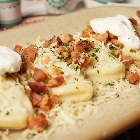 Perogies With Potato, Cream Cheese And Bacon Filling