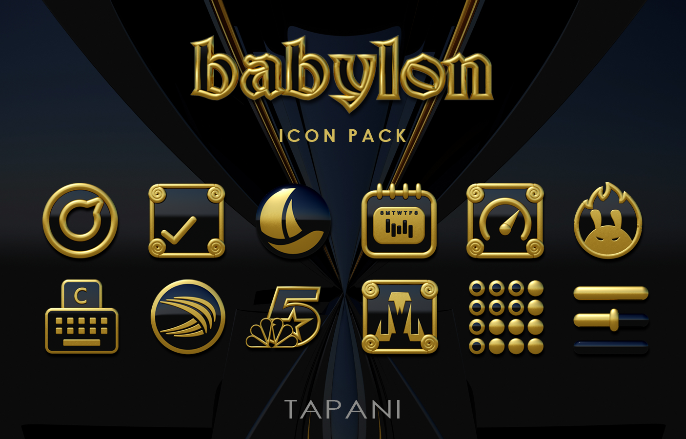 Babylon gold blue ICON PACK Screenshot 8