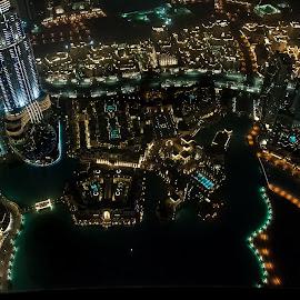 Dubai by Night by Carlos Lopes - City,  Street & Park  Night