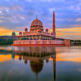 The Putra Mosque by Baljit Singh - Buildings & Architecture Places of Worship ( reflection, sunrises, god, masjid, masjidputra, putra, mosque, putrajaya, reflections, malaysia, sunlight, worship, sun, wilayahpersekutuan, sunrise, wilayah, putramosque )
