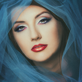 1 by Ina Pandora - People Portraits of Women ( red, girl, blue, colorful, color, female, makeup, lady, veil, portrait,  )