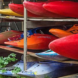 Kayaks at the Ready by Richard Michael Lingo - Transportation Boats ( iceland, kayaks, colors, boats, transportation )