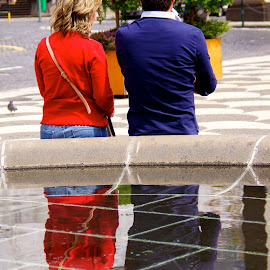 Bright reflection by Amber O'Hara - People Street & Candids ( water, reflection, red, funchal, fountain )