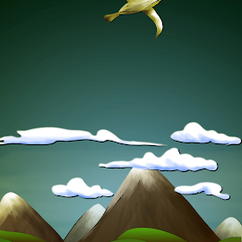 Soaring Higher by Paul Griffin - Illustration Flowers & Nature ( bird, flying, gull, seagull, nature, ocean, high, soar )