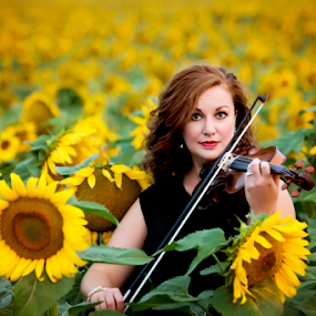 Sunflower Serenade by Bob Grandpre - People Portraits of Women ( field, red hair, maestro, violin, woman, sunflowers, yellow, bow, portrait,  )