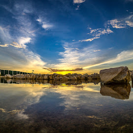 Symetry Sunset by Hooi C.S - Landscapes Sunsets & Sunrises ( fisheye, reflection, park, sunset, low angle, lanscape, lake, natural )