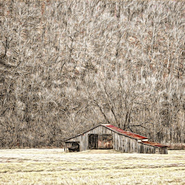 Christmas Barn by Allen Crenshaw - Digital Art Places ( winter, digital art, ozarks, drawing, impressionism, boxley barn, arkansas )