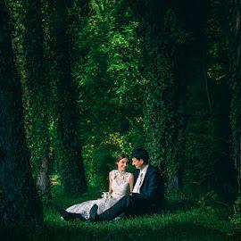 Love in Green by Zeljko Marcina - Wedding Bride & Groom ( inland, love, forrest, green, wedding, beautiful, croatia, split, bride, woods, groom )