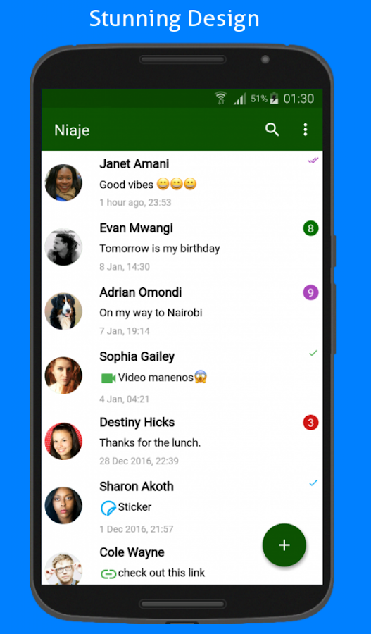 Niaje Messenger SMS & MMS Screenshot