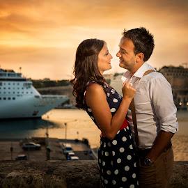 Kiss - 3313 by Keith Darmanin - People Couples ( maltese, ship, photography, kitzklikz, graziella & pierre, love, kiss, sweet, kitz klikz, malta, sunset, wedding, valletta, pre wedding, lovely, summer, couple, keith darmanin,  )