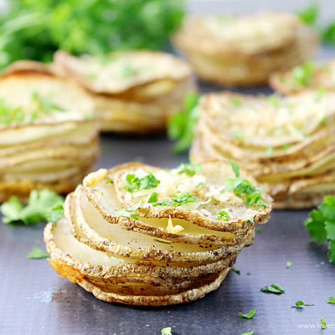 Garlic Parmesan Parslied Potato Stacks