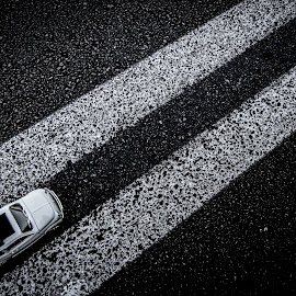Crossing by Grigoris Koulouriotis - Artistic Objects Toys ( car, toy, street, white, dark, road, stripes, close up, fiat500 )