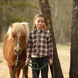 Best fury friend by Giselle Pierce - Babies & Children Children Candids ( miniature horse, little girl, friends, girl, horse, miniature )