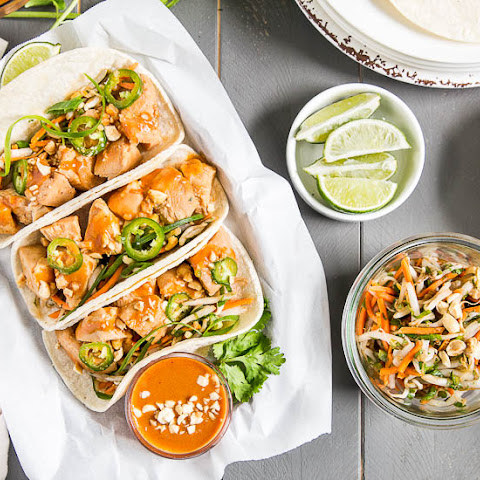 Thai Chicken Tacos {with Bean Sprout Slaw & Peanut Sauce}