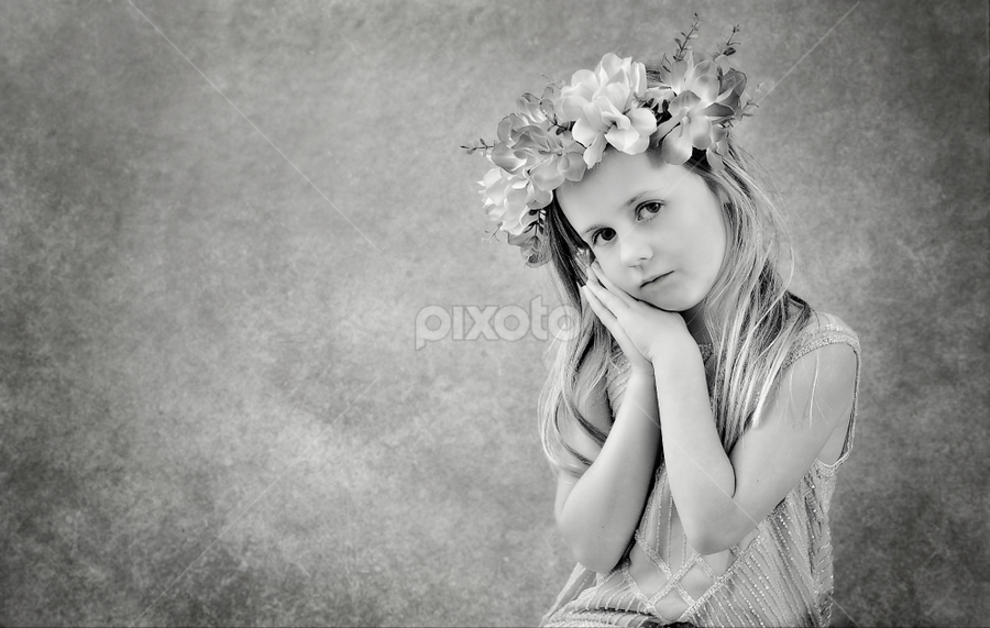 Angelic by Love Time - Babies & Children Child Portraits ( pretty, texture, black and white, girl, portrait, empty space, child )