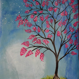 blooming tree by Rahul Manoj - Novices Only Flowers & Plants ( tree, blue, green, white, pink, flowers )