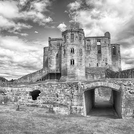 Warkworth Castle in B&W by Davey T - Buildings & Architecture Public & Historical ( northumberland, black and white, warkworth castle, castle, historical )