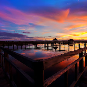 the bridge by Arthit Somsakul - Landscapes Sunsets & Sunrises ( wood, sunset, bridge, pwcpaths )