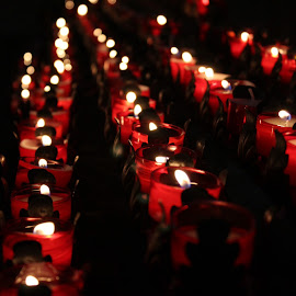 Red Flaming Candles by Shamber Flore - Abstract Fire & Fireworks ( lit, candle, red, church, dark, candle light, light, flame )