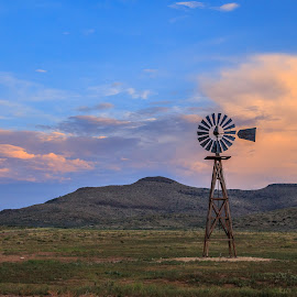 Windmill by Ross Brown - Landscapes Travel ( clouds, sky, blue, sunset, windmill )