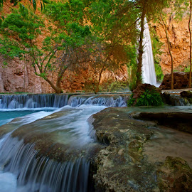 Mooney Falls Travertines by Justin Giffin - Nature Up Close Water ( water, nature, havasupai, waterscape, arizona, blue water, natural pools, pools,  )