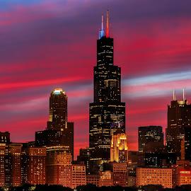 Sunset Chicago Skyline by Venkatauday Bommisetty - City,  Street & Park  Skylines ( sunset, skylines, chicago,  )