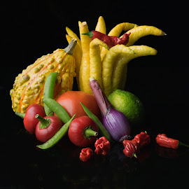 Buddha Hand Veggie Medley Black by Jim Downey - Food & Drink Ingredients ( cherry peppers, pees, peppers, tomato, scallon, squash )