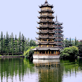 Sun and Moon Pagodas by Xiufen Gu - Buildings & Architecture Public & Historical ( guilin )