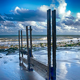 Blue Shore by Dave Godden - Landscapes Beaches ( coast coastal, defences, old, groynes, sea, beach, warren, folkestone, groyne, derelict, english, channel, english channel )