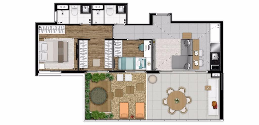 Planta Cobertura Tipo de 107 m²