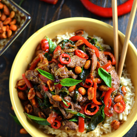 30 Minute Thai Beef Stir Fry with Sriracha Roasted Peanuts