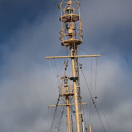 ship conning tower by Christopher Barker - Transportation Boats ( clouds, ship, conning tower )