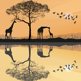 Savana with giraffes by Vladimir Ceresnak - Illustration Animals ( animals, giraffe, big, geese, mammal )