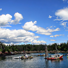 Nestled in the Cove by Susan Hill - Transportation Boats ( clouds, water, harbor, boats, fishing )
