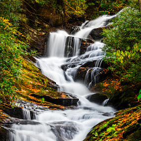 Roaring Fork Falls by Robert Golub - Landscapes Waterscapes