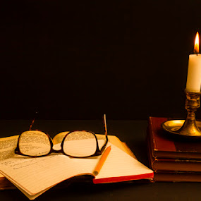 Studying by HB Jansson - Artistic Objects Still Life ( studio, pencil, candle, books, stilleben, glasses, still life )