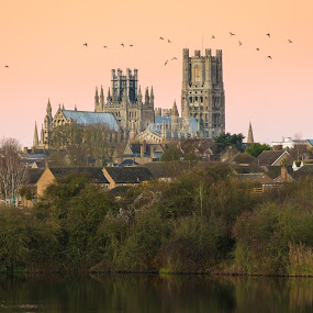 Ely from Roswell Pits by Sam Alexander - City,  Street & Park  Skylines ( ely, december, england, november, ely cathedral, 2016, sunrise, roswell pits )