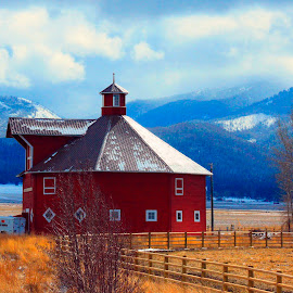 ROUND BAR N IN THE WINTER  by Gerry Slabaugh - Buildings & Architecture Public & Historical ( oregon, joseph oregon, mountains, barn, round barn, snow, round )