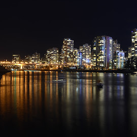The west end of Vancouver by Cory Bohnenkamp - City,  Street & Park  Skylines ( water, skyline, west end, buildings, reflections, ocean, night, vancouver, downtown, city )