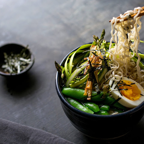 Spring Ramen Bowl With Snap Peas and Asparagus