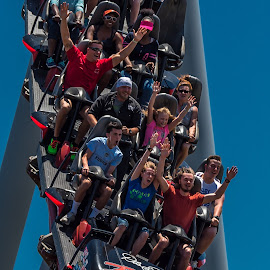Roller Coaster Fun by Mike Watts - City,  Street & Park  Amusement Parks ( park, roller coaster, fun, people )