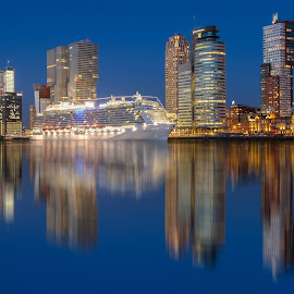 MS Regal Princess at Cruise Terminal Rotterdam by Rémon Lourier - City,  Street & Park  Skylines ( mirror, cruiseship, reflection, skyline, rotterdam, holland, cityscape, highrises, river )